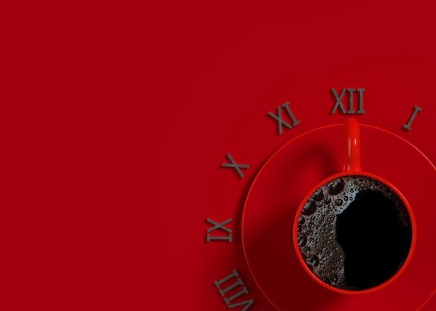 Schwarzer kaffee in der roten schale für zeit. arbeits- und pausenzeitideenkonzept, 3d übertragen.