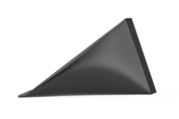 Schwarzer karton triangle box creme, saft oder milch pack mock up auf weißem hintergrund. 3d-rendering