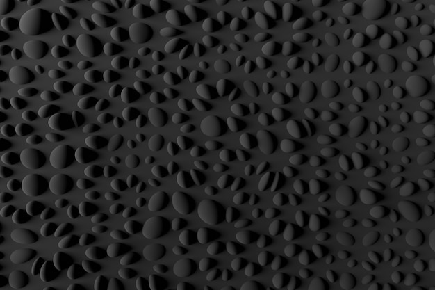 Schwarzer kies auf einem schwarzen hintergrund. minimalistisches schwarzes 3d-rendering.