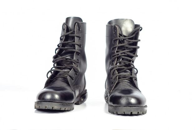 Schwarzer leder kampfstiefel oder army boots