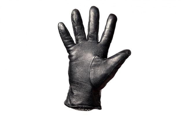 Schwarzer lederhandschuh der nahaufnahme, finger, die nr. fünf zeigen. isoliert auf weißem hintergrund