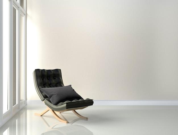 Schwarzer lederstuhl - rauminnenraum auf weißem wandhintergrund. 3d-rendering