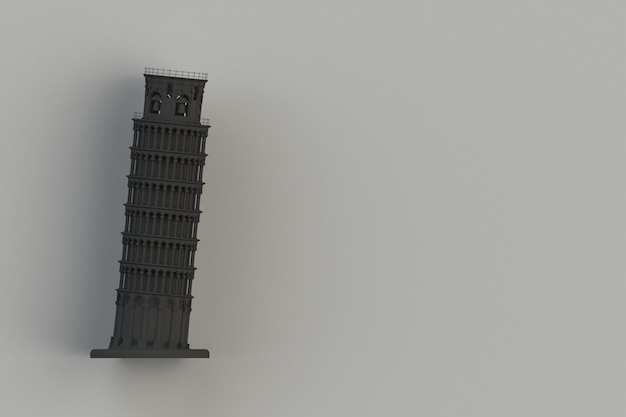 Schwarzer lehnender turm von pisa auf schwarzem hintergrund, wiedergabe 3d