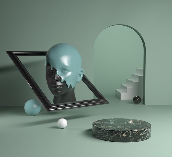 Schwarzer Marmor des Podiums mit Statuenkopf-Beschichtungsfarbe im Rahmen-Hintergrund-3D-Render
