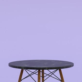 Schwarzer marmortisch oder produktständer für anzeigeprodukt auf lila hintergrund
