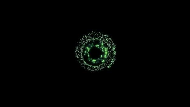 Schwarzer minimalistischer abstrakter hintergrund grüner neonkreis auf futuristischem element des schwarzen hintergrundes
