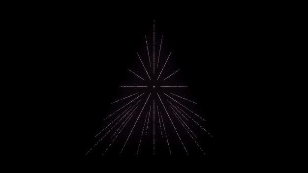 Schwarzer minimalistischer abstrakter hintergrund leuchtendes dreieck auf schwarzem hintergrund