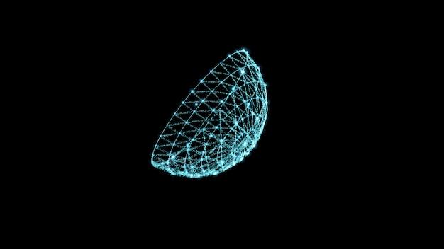 Schwarzer minimalistischer hintergrund abstrakt leuchtende satellitenschüssel