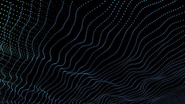 Schwarzer minimalistischer hintergrund mit wellen von blauen partikeln