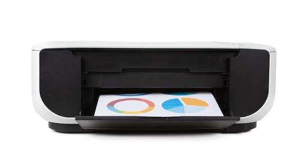 Schwarzer multifunktionsdrucker getrennt gegen einen weißen hintergrund