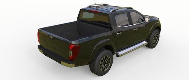 Schwarzer nutzfahrzeug-lieferwagen mit doppelkabine. maschine ohne abzeichen mit einem sauberen leeren körper zur aufnahme ihrer logos und etiketten. 3d-rendering.