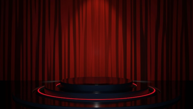 Schwarzer produkthintergrundraum und podium auf rotem vorhanghintergrund mit luxuriöser stoffkulisse. premium image.3d-rendering