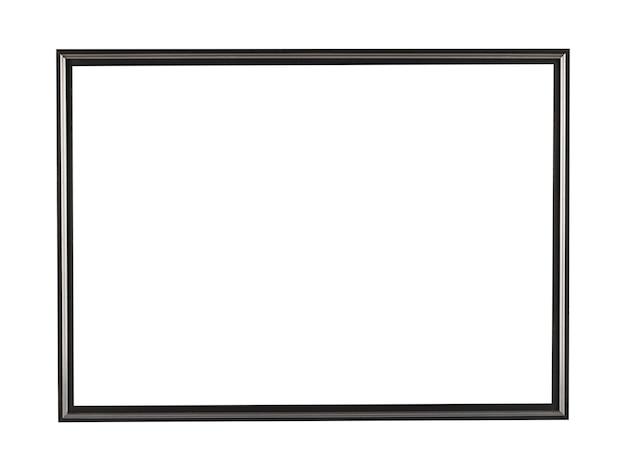 Schwarzer quadratischer metallrahmen für malerei oder bild lokalisiert auf einem weißen hintergrund