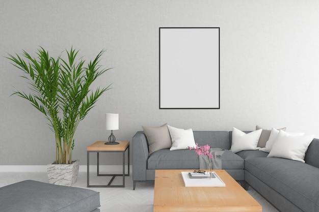 Schwarzer rahmen im skandinavischen wohnzimmer