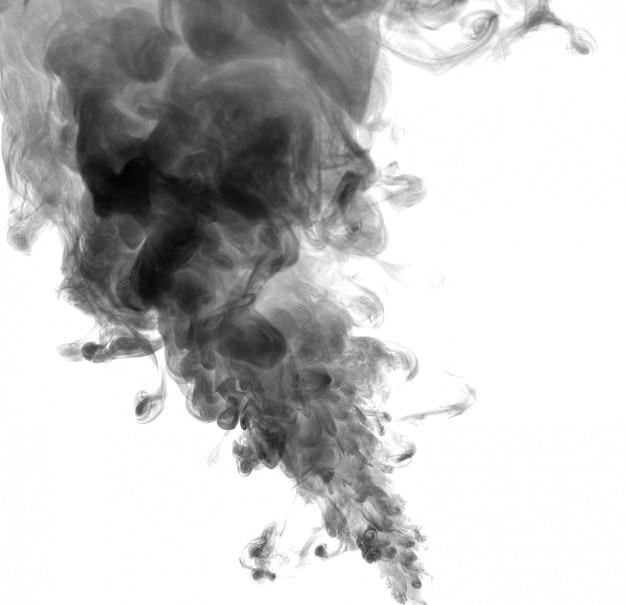 Schwarzer rauch auf einem weißen hintergrund