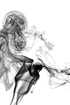 Schwarzer rauch auf weißem hintergrund Premium Fotos