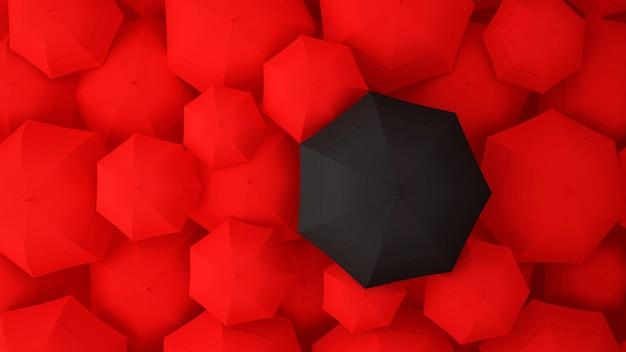 Schwarzer regenschirm auf vielen roten regenschirmen. abbildung 3d