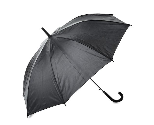 Schwarzer regenschirm auf weiß