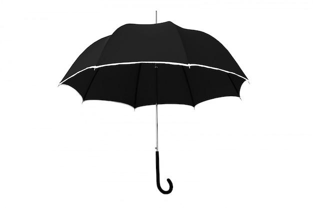 Schwarzer regenschirm lokalisiert auf weiß
