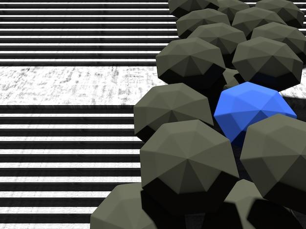 Schwarzer regenschirm und blauer regenschirm auf steintreppe