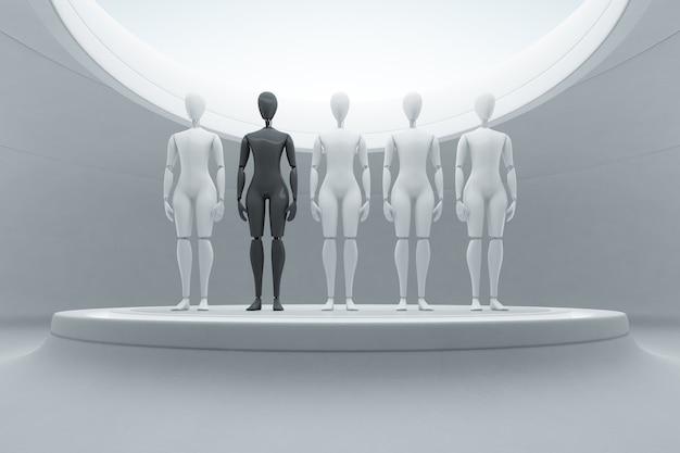 Schwarzer roboter unter weißen auf stadium im zukünftigen technologiekonzept.