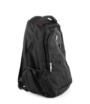 Schwarzer rucksack isoliert auf weißem hintergrund mit beschneidungspfad