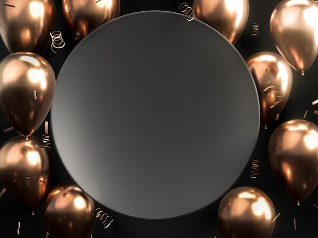 Schwarzer runder teller über goldenen und kupfernen ballons