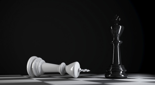 Schwarzer schachkönig steht nahe weißem schach besiegtem könig in der 3d-illustration
