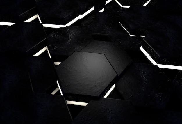 Schwarzer sechseckiger abstrakter hintergrund mit leuchtenden weißen lichtern. platz für kopienraum.