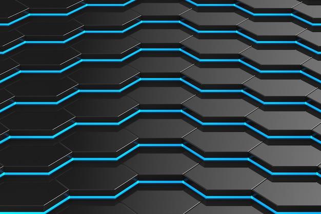 Schwarzer sechseckraum. 3d-illustration