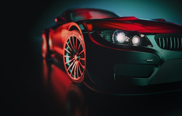 Schwarzer sportwagen.