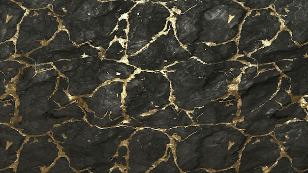 Schwarzer stein mit goldenem linienbeschaffenheitshintergrund