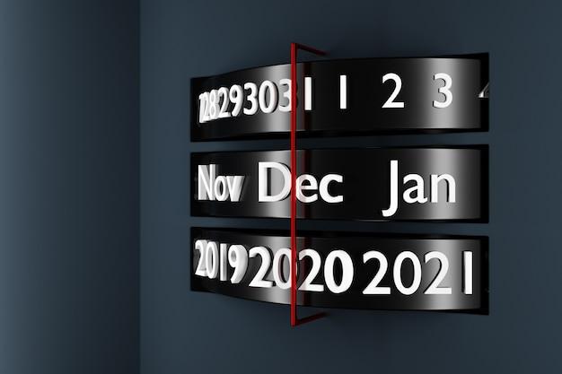 Schwarzer streifenkalender der 3d-illustration mit 12 monaten, 31 tagen und 2021 jahren auf weißem hintergrund.
