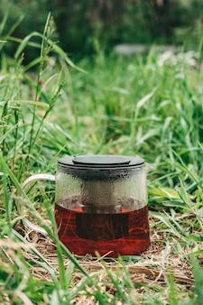 Schwarzer tee in einer transparenten teekanne auf grünem gras. gesunder heißer tee in der natur. teekanne hautnah. kondenswasser auf dem glas der teekanne. erfrischender tee. vertikaler rahmen