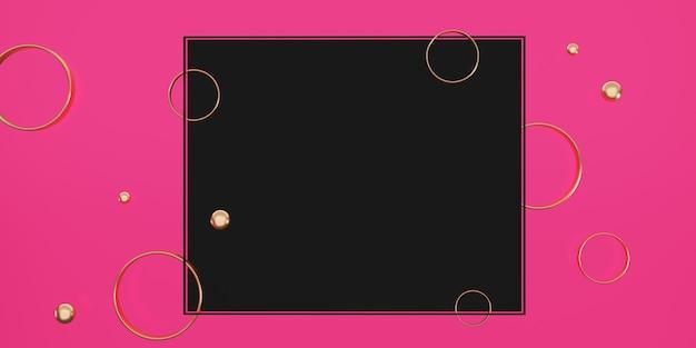 Schwarzer textrahmen auf rosa hintergrund mit perlen und ringen verziert 3d-darstellung