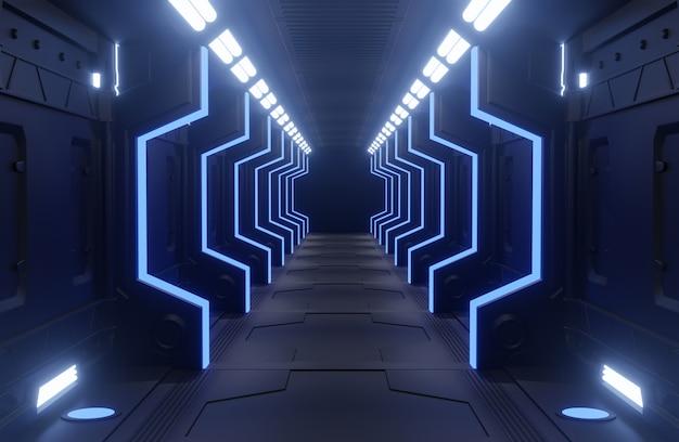 Schwarzer und blauer innenraum des tunnel-raumschiffes, korridor