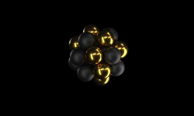 Schwarzer und goldener realistischer bereich-hintergrund-abschluss oben. hintergrund von metall bällen mit schärfentiefe. goldene und schwarze blasen. schmuck-cover-konzept. 3d-rendering. dekorationselement für auf einer weißen oberfläche.