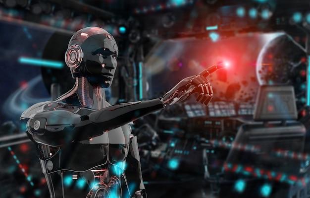 Schwarzer und roter intelligenter roboter cyborg, der finger auf dunkelheit zeigt