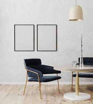 Schwarzer vertikaler plakatrahmen verspotten im modernen innenraum des esszimmers mit luxuriösen dunkelblauen stühlen und marmor- und goldtisch mit holzboden und grauer wand, 3d-darstellung