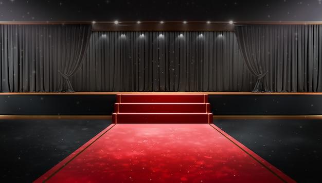Schwarzer vorhang und ein scheinwerfer. festivalnacht-showplakat