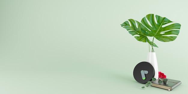 Schwarzer wecker und vasen mit blättern und notizbuch und roter blume auf grünem hintergrund, zeitkonzept, minimale komposition, stilvolle abstrakte uhr, platz für text und kopie. 3d-illustration.