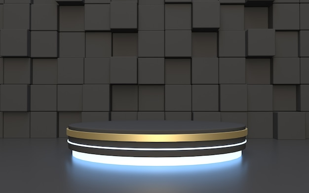 Schwarzer zylinder podium mit rechteck abstrakten hintergrund
