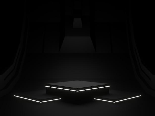 Schwarzes 3d-rendering-podium für die produktanzeige
