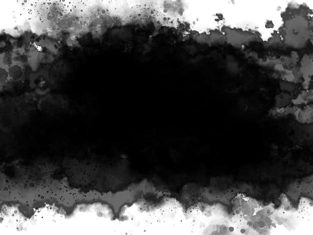 Schwarzes aquarell auf weißem hintergrund mit kopienraum-grunge-artillustration
