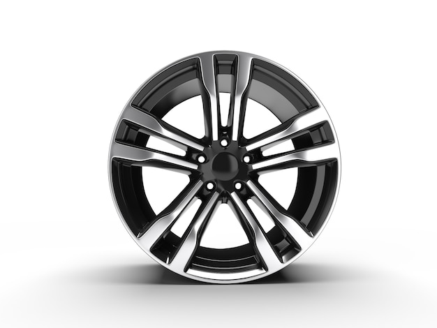 Schwarzes auto-leichtmetallrad, isoliert