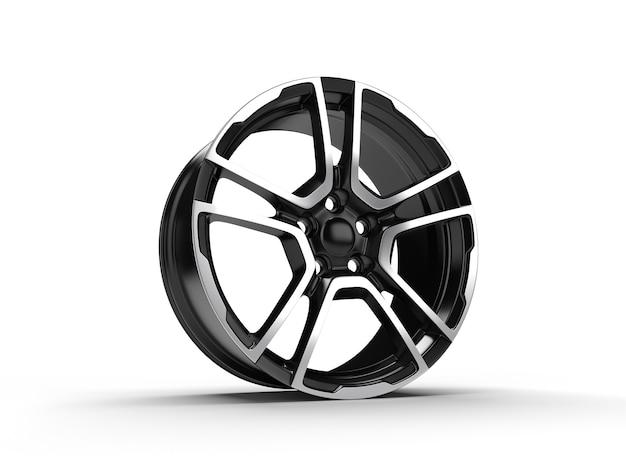 Schwarzes auto-leichtmetallrad lokalisiert auf weiß