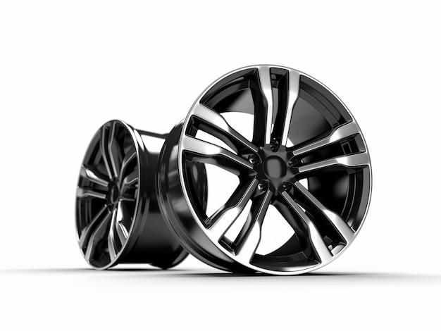 Schwarzes auto-leichtmetallrad, lokalisiert über weißwand-3d-rendering-illustration.