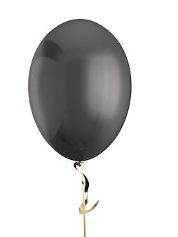 Schwarzes ballonisolat auf weiß. 3d-illustration.