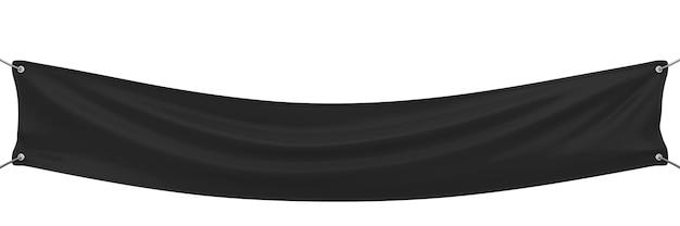 Schwarzes banner, das lokalisiert auf weiß streckt. 3d-illustration.