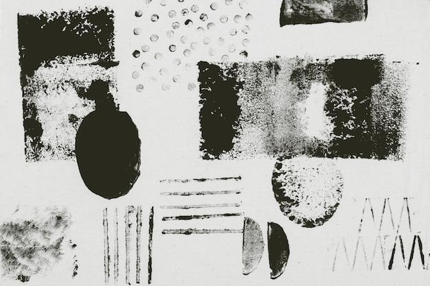 Schwarzes blockdruck-hintergrundmuster mit abstrakten formen